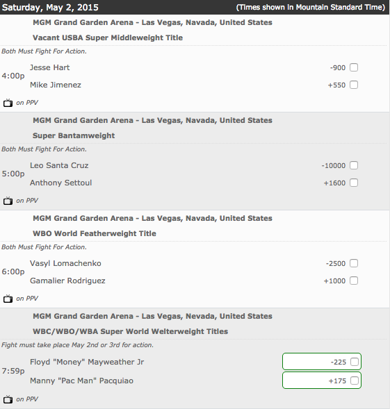 Bovada: Pacquiao-Mayweather Fight Card Money Line Odds