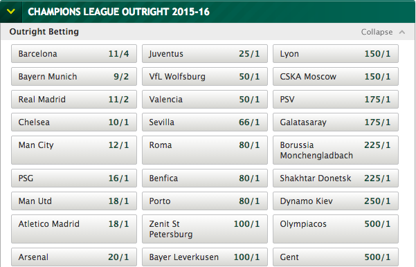 League Winner Odds