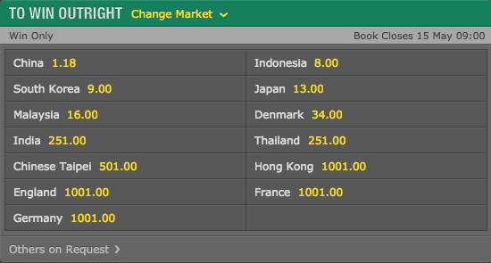 2016 Thomas Cup Outright Winner Odds