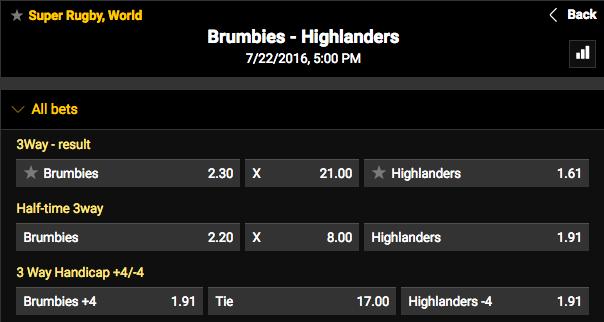 2016 Super Rugby Quarterfinal Brumbies vs. Highlanders Game Winner Odds
