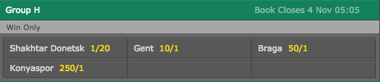 2016-17 Europa League Group H Outright Winner Odds