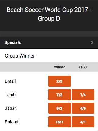 2017 FIFA Beach Soccer World Cup Group D Winner Odds