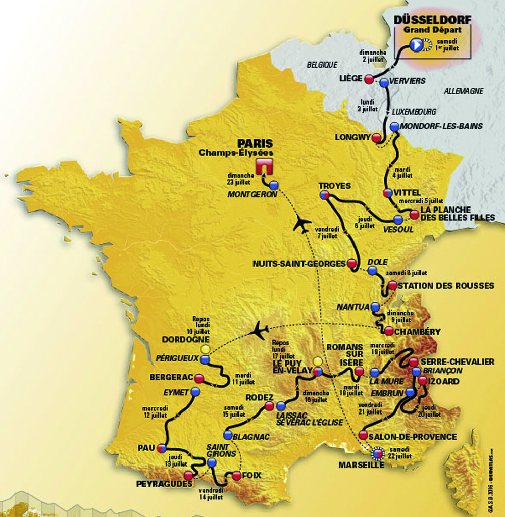 Tour de France 2017 Route Map