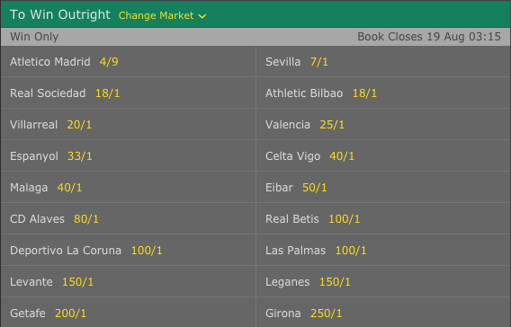 2017-18 La Liga Outright Winner Odds (without Real Madrid & Barcelona)