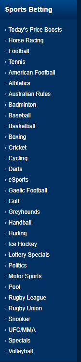 Betfred Sports List