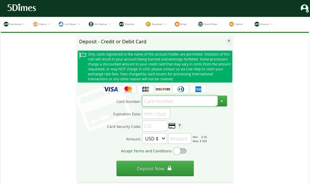 5Dimes Deposit Credit/Debit Card