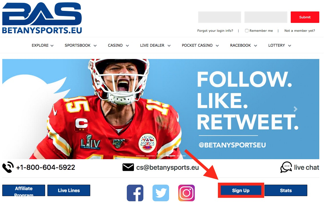 BetAnySports Account Registration