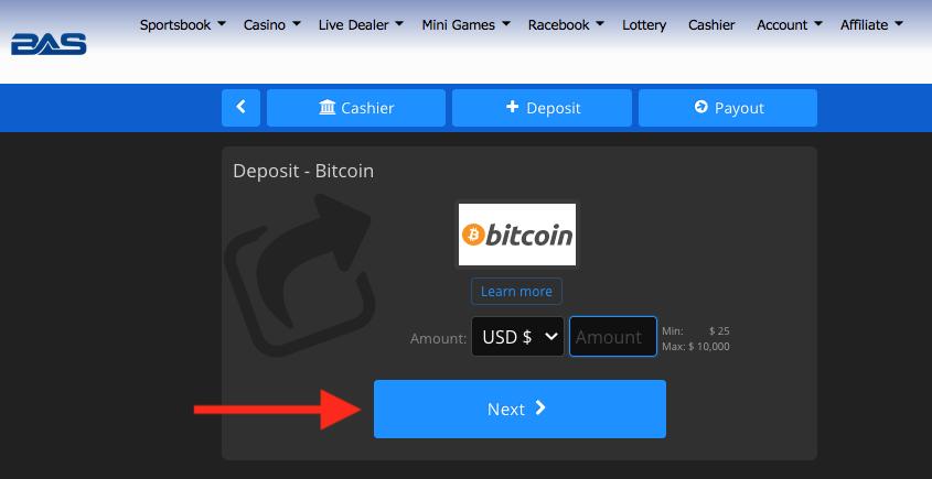 BetAnySports Deposit Bitcoin