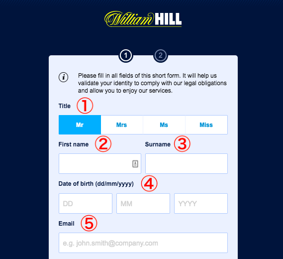 William Hill Account Registration