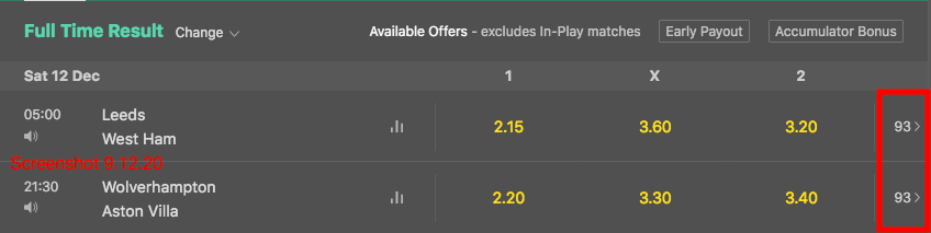 bet365 Bet Options
