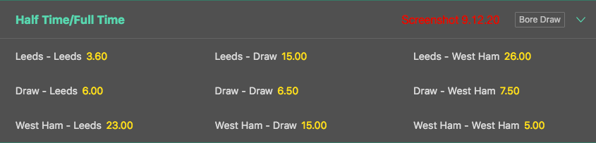 bet365 Half Time-Full Time