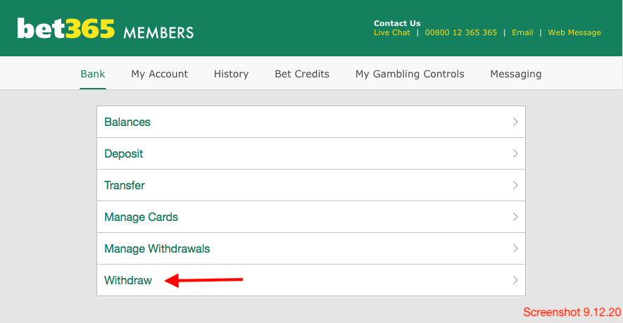 bet365 Withdraw
