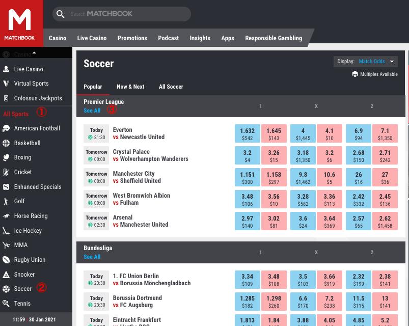 Matchbook English Premier League