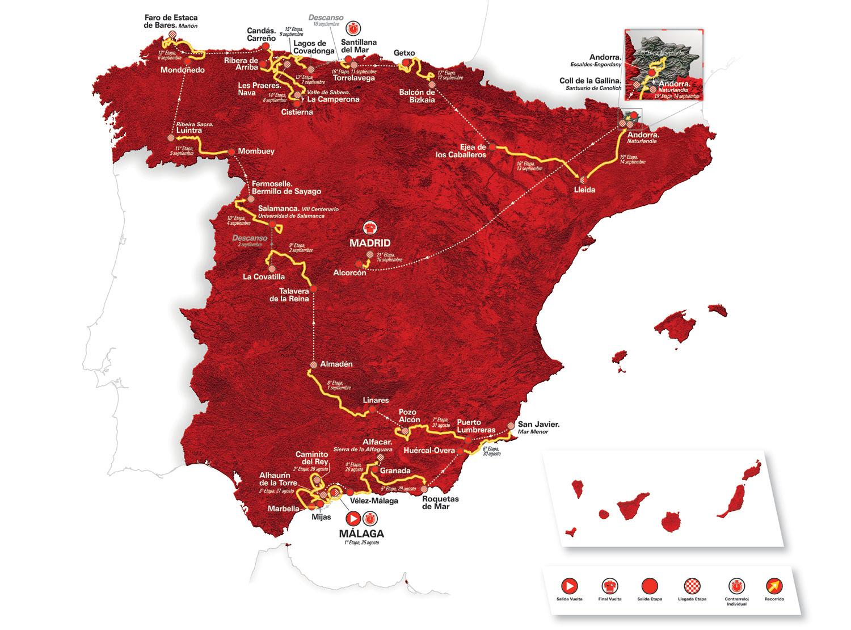 2018年ブエルタ・ア・エスパーニャルートマップ