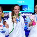 大橋悠依(2017年世界水泳銀メダル獲得時、右)