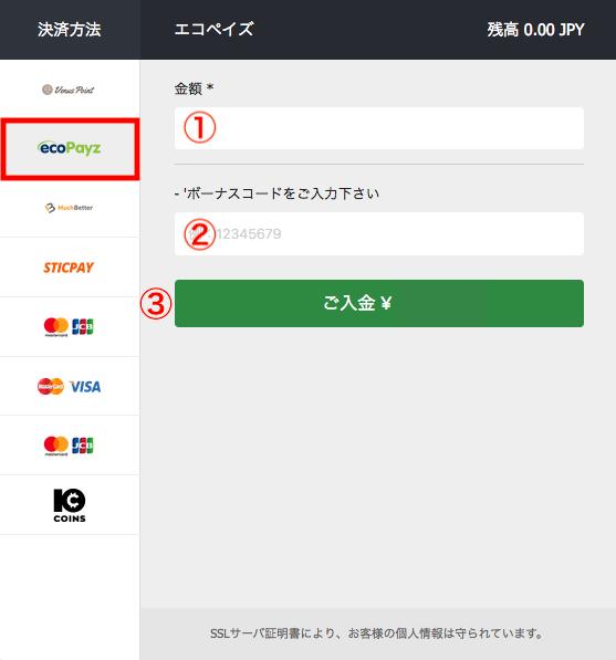 10Bet ecoPayz(エコペイズ)入金