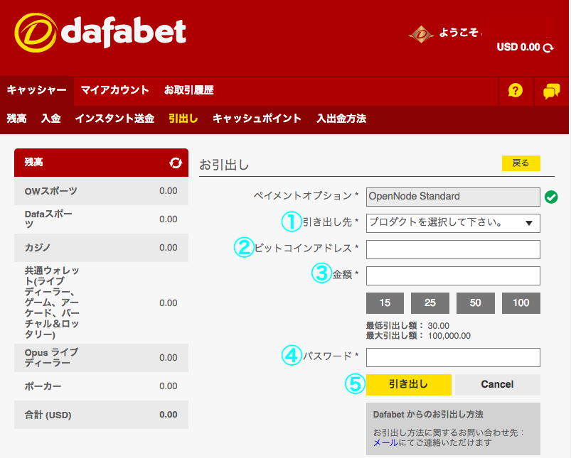 Dafabet Bitcoin(ビットコイン)出金
