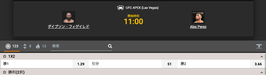 UFC255フライ級王座決定戦オッズ