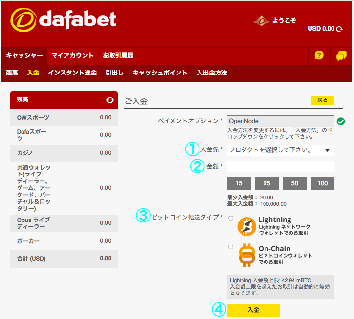 Dafabet Bitcoin(ビットコイン)入金
